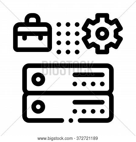 Business Case Gear And Cards Icon Vector. Business Case Gear And Cards Sign. Isolated Contour Symbol