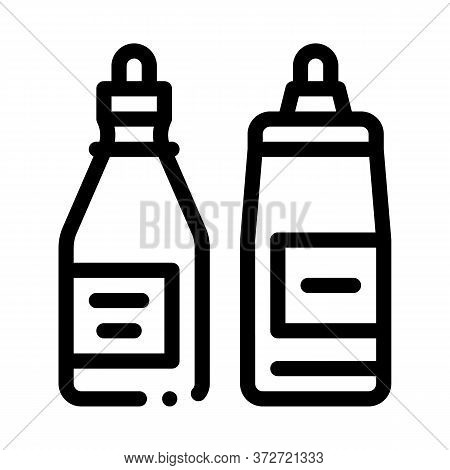 Ketchup And Mayonnaise Sauce Bottles Icon Vector. Ketchup And Mayonnaise Sauce Bottles Sign. Isolate
