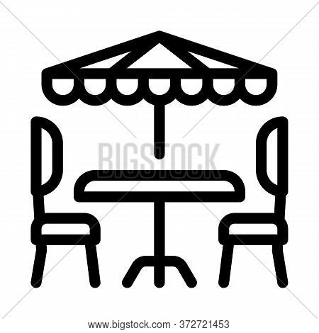 Cafe Table Chairs And Umbrella Icon Vector. Cafe Table Chairs And Umbrella Sign. Isolated Contour Sy