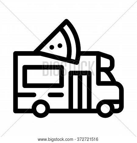 Pizza Street Food Van Icon Vector. Pizza Street Food Van Sign. Isolated Contour Symbol Illustration