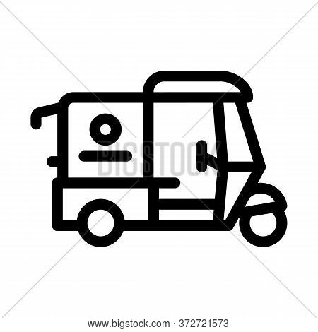 Tuk Tuk Food Delivery Icon Vector. Tuk Tuk Food Delivery Sign. Isolated Contour Symbol Illustration