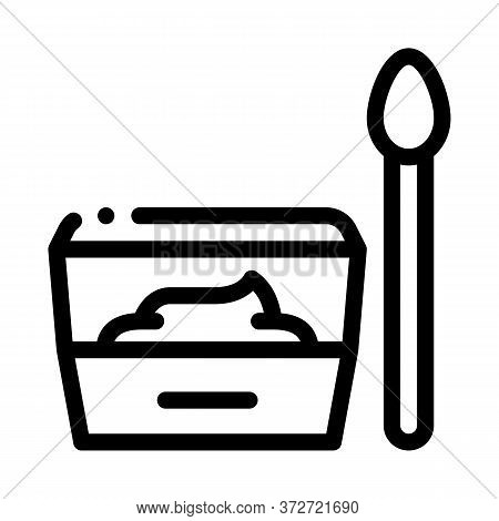 Container With Food And Spoon Icon Vector. Container With Food And Spoon Sign. Isolated Contour Symb
