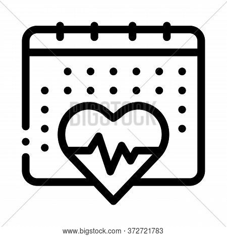 Heart Cardio Calendar Icon Vector. Heart Cardio Calendar Sign. Isolated Contour Symbol Illustration