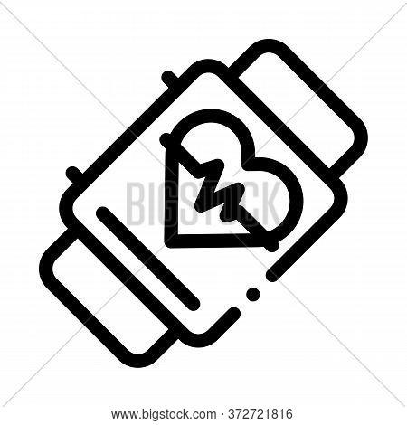 Fitness Bracelet Watch Heart Cardio Icon Vector. Fitness Bracelet Watch Heart Cardio Sign. Isolated