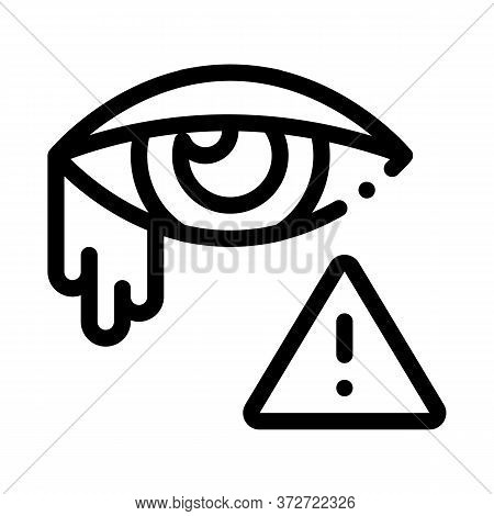 Crying Eye Exclamation Sign Icon Vector. Crying Eye Exclamation Sign Sign. Isolated Contour Symbol I