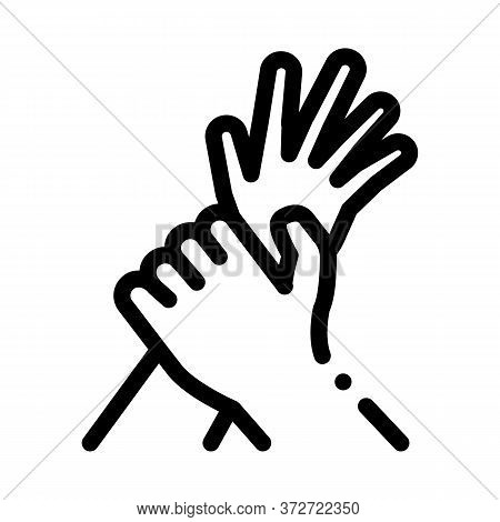 Hand Hold Arm Stop Hit Icon Vector. Hand Hold Arm Stop Hit Sign. Isolated Contour Symbol Illustratio