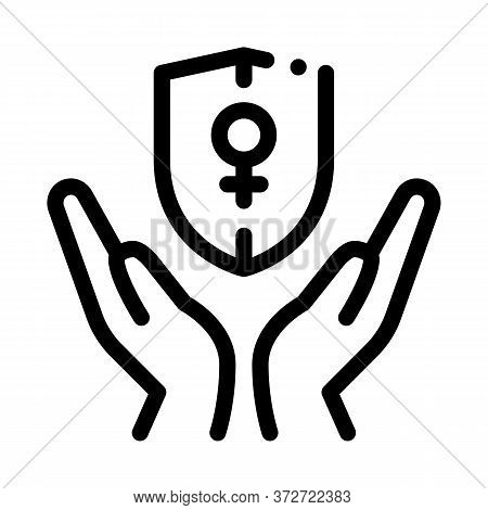 Protection Female Sex Icon Vector. Protection Female Sex Sign. Isolated Contour Symbol Illustration