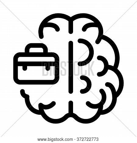 Business Case And Brain Icon Vector. Business Case And Brain Sign. Isolated Contour Symbol Illustrat