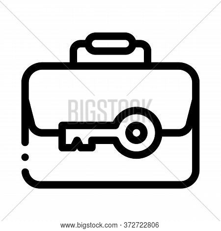 Case And Key Icon Vector. Case And Key Sign. Isolated Contour Symbol Illustration