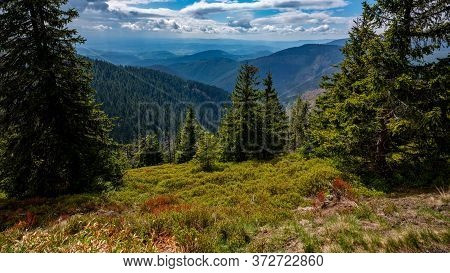 View Over A Colorful Forested Hilly Landscape With Dramatic Clouds, Jeseniky Mountains, Czech Republ