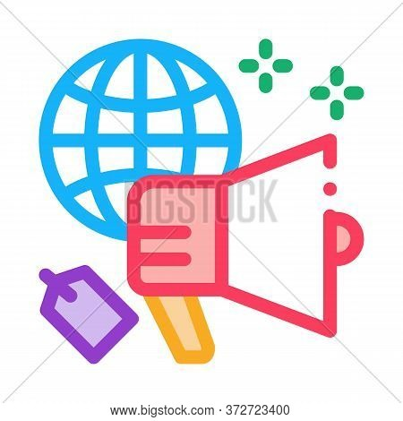 Worldwide Price Loudspeaker Icon Vector. Worldwide Price Loudspeaker Sign. Color Symbol Illustration
