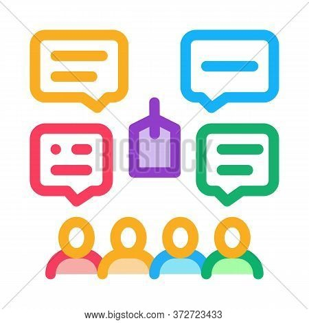 People Discuss Price Icon Vector. People Discuss Price Sign. Color Symbol Illustration