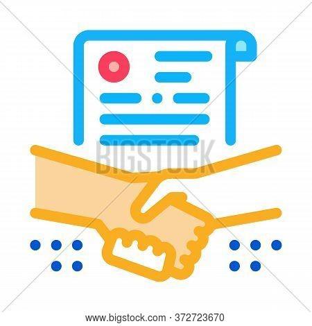 Agreement Contract Handshake Icon Vector. Agreement Contract Handshake Sign. Color Symbol Illustrati