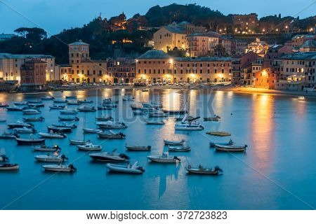 Breathtaking View Of The Bay With Boats And Yachts. Warm Summer Evening In The Resort Town. Romantic