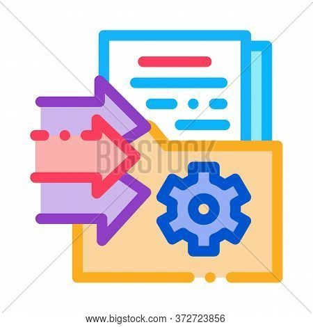 Document Adding In Folder Icon Vector. Document Adding In Folder Sign. Color Symbol Illustration