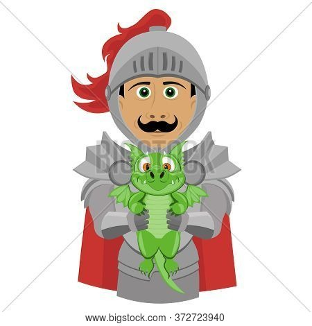 A Noble Knight In Armor With A Cute Little Dragon. Fun And Funny Character Vector Illustration On A