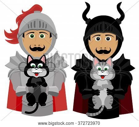 Set Of Two Knights With Kittens. Knights Put Kittens In Good Hands. Vector Illustration.
