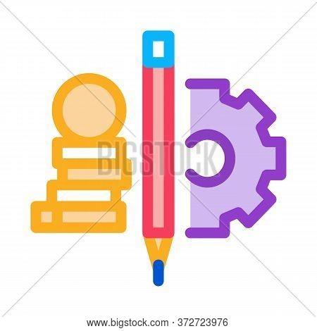 Coin Heap Pen And Mechanical Gear Icon Vector. Coin Heap Pen And Mechanical Gear Sign. Color Symbol