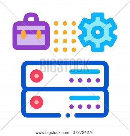 Business Case Gear And Cards Icon Vector. Business Case Gear And Cards Sign. Color Symbol Illustrati