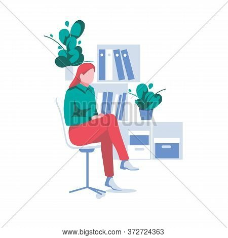 Cute Girl Sits On Chair In Office. Business Woman Works As An Clerk Or Secretary. Cartoon Character