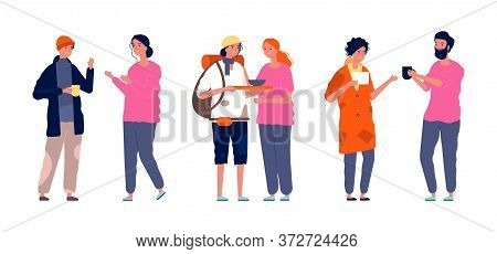 Volunteers Activity. Homeless Poor People And Helpers. Kind Woman Man, Humanitarian Aid And Free Foo
