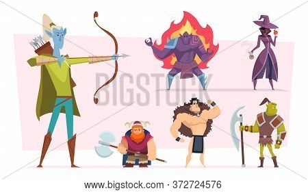 Fantasy Characters. Fairytale Humans And Creatures Elf Orc Demon Giant Vector Cartoon Personages. Fa