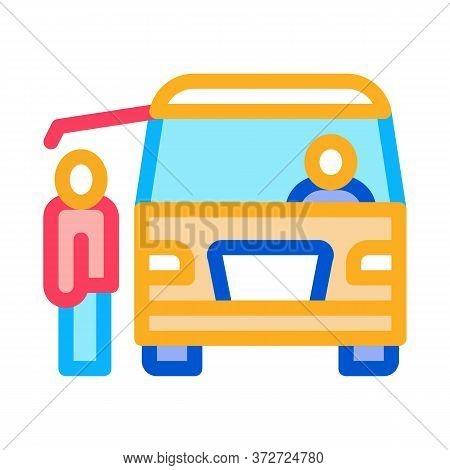 Fast Food Van Vehicle Icon Vector. Fast Food Van Vehicle Sign. Color Symbol Illustration