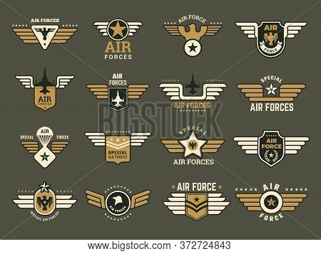 Army Badges. Air Special Forces Emblems With Different Symbols Weapons Wings Anchor Vector Military