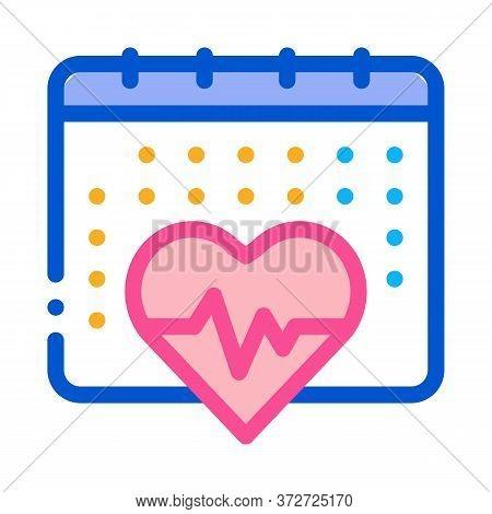 Heart Cardio Calendar Icon Vector. Heart Cardio Calendar Sign. Color Symbol Illustration