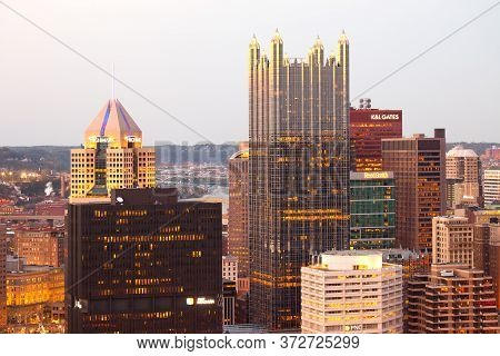 Pittsburgh, Pennsylvania, United States - April 28, 2011: Close-up View To The Cityscpae Of Central