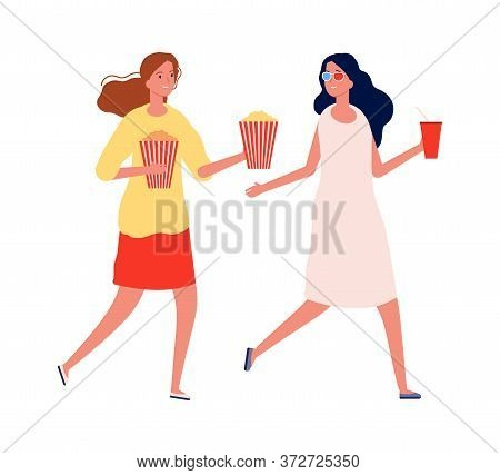 Girlfriends Meeting. Women With Popcorn And Drinks. Isolated Cinema Visitors, Flat Female Characters