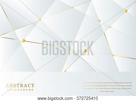 Abstract White Luxury Premium Background With Luxury Triangles Pattern And Gold Lighting Lines. You