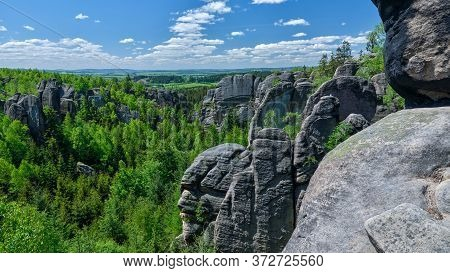 Mighty Rock Pillar Peaking From Colorful Green Forest In Lovely Landscape, Nature Tourism Destinatio