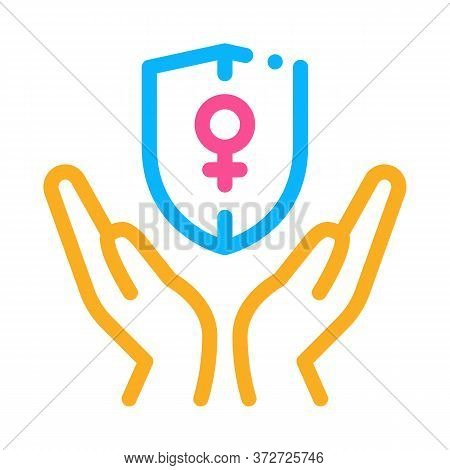 Protection Female Sex Icon Vector. Protection Female Sex Sign. Color Symbol Illustration