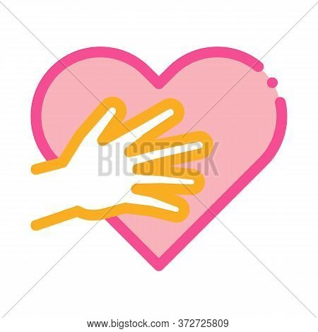 Touch Heart Icon Vector. Touch Heart Sign. Color Symbol Illustration