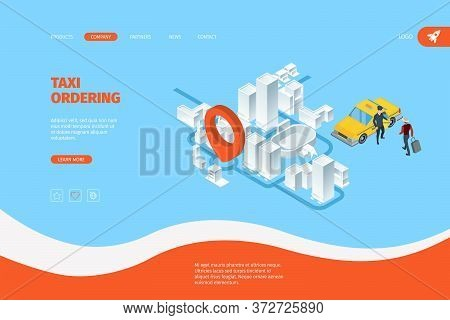 Taxi Landing. Advertizing Business Web Page With Route Map And Yellow Taxi Car Service Destination I