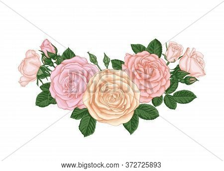 Beautiful Bouquet With Pastel Pink Roses Buds And Leaves. Floral Arrangement. Design Greeting Card A