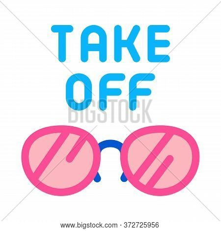 Take Off Glasses Icon Vector. Take Off Glasses Sign. Color Symbol Illustration