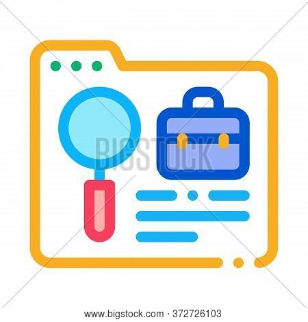 Folder Research Business Case Icon Vector. Folder Research Business Case Sign. Color Symbol Illustra