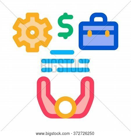 Business Case Money And Gear Icon Vector. Business Case Money And Gear Sign. Color Symbol Illustrati