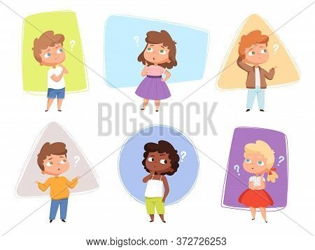 Thinking Kids. Children Asking Question Expression And Question Marks Teens Vector Characters. Kids