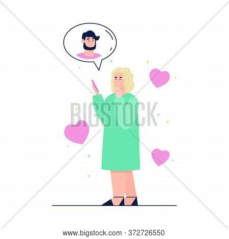 Woman Chatting With Man Using Virtual Dating Mobile Application On Her Phone, Cartoon Vector Illustr