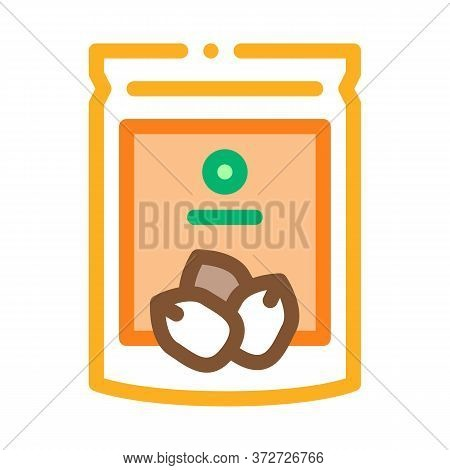 Nut Package Icon Vector. Nut Package Sign. Color Symbol Illustration