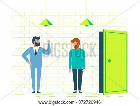 Angry boss dismisses employee. Fired sad man. Dismissal, unemployment, jobless. Business concept. Business people. Business background. Infographic business arrow shape template design. Business background, business concept. business banner. Building to s