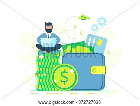 Making money. Flat design. Freelance, remote job, work remotely. Business people. Man with laptop sitting on wallet. Business concept. Business people. Business background. Infographic business arrow shape template design. Business background, business co