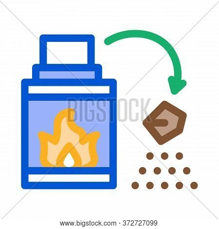 Fireplace Fire Icon Vector. Fireplace Fire Sign. Color Symbol Illustration