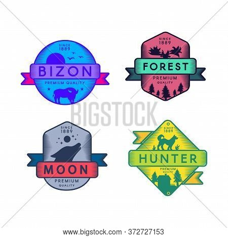 Bizon And Forest, Moon And Hunter Badges Set Logo