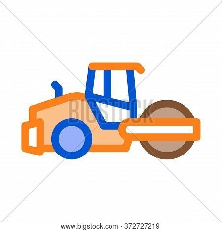 Road Repair Pavering Tractor Icon Vector. Road Repair Pavering Tractor Sign. Color Symbol Illustrati