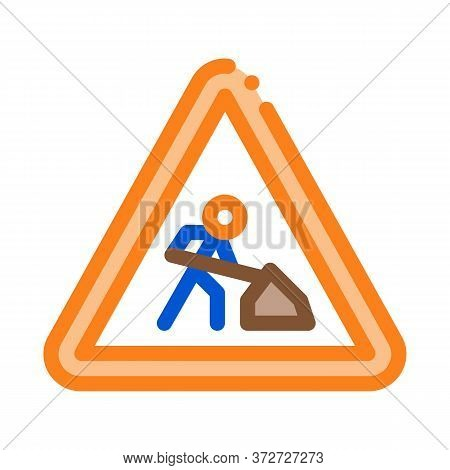 Road Repair Mark Icon Vector. Road Repair Mark Sign. Color Symbol Illustration
