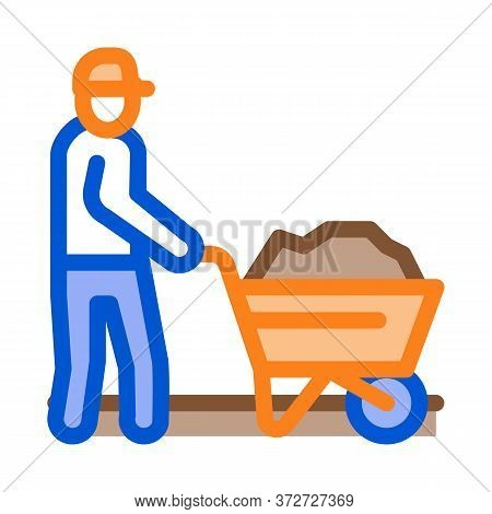 Worker With Cart Icon Vector. Worker With Cart Sign. Color Symbol Illustration